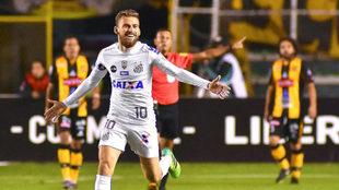 Lucas Lima celebra un gol con el Santos