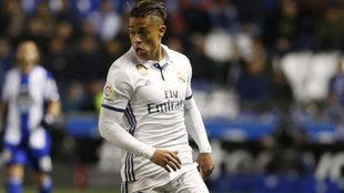 Mariano, durante un partido con el Real Madrid