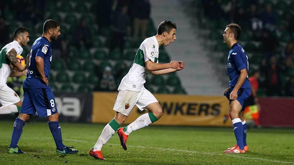 Guillermo celebra un gol de esta temporada ante el Getafe