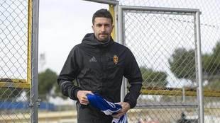 Cani, llegando a un entrenamiento reciente del Zaragoza