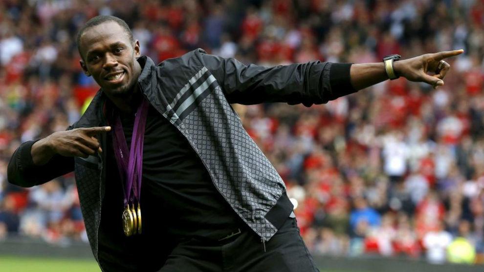 Usain Bolt, durante un homenaje que recibió en el estadio de Olda...