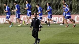 Álvaro García durante un entrenamiento de esta temporada en El Rosal