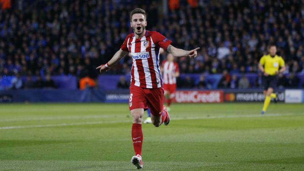 Saúl celebra ung ol en Champions con el Atlético.