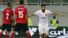 Nolito celebra un gol con la selección española.