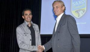Oleg Tinkoff y Alberto Contador, en la presentaci�n de su equipo en...