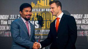 Manny Pacquiao y Jeff Horn en la rueda de prensa