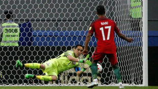 Nani en el momento de fallar el penalti ante Chile.