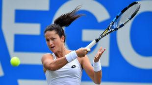 Lara Arruabarrena durante su partido ante Angelique Kerber en...