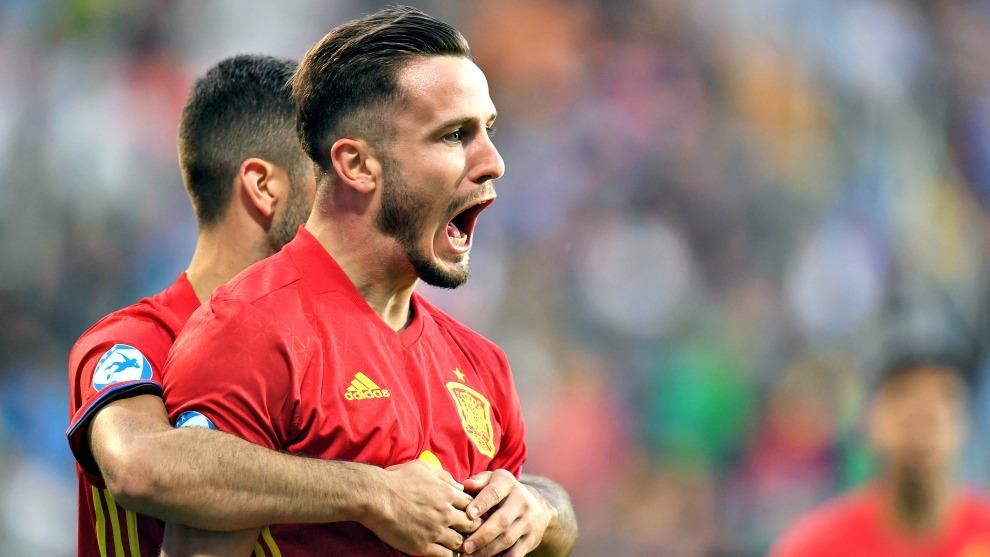 Saúl celebra un gol en la Eurocopa Sub 21.