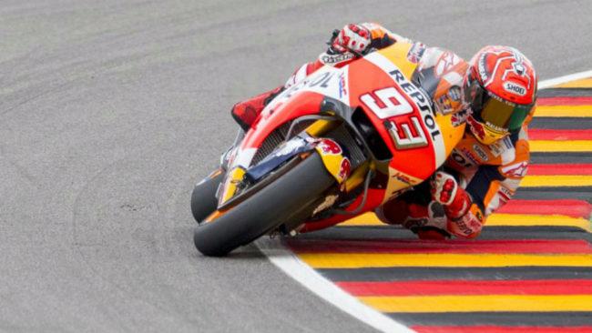 M�rquez pilota su Honda en Sachesenring.