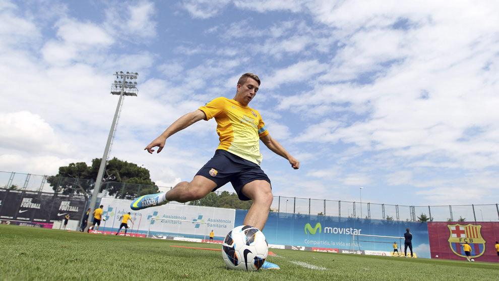 Deulofeu (23), en un entrenamiento con el Barcelona