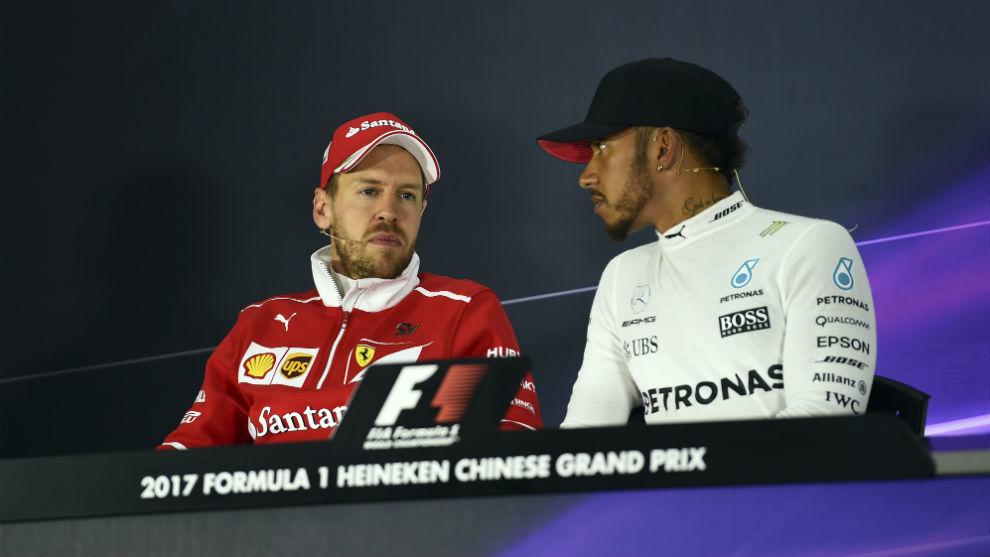 Vettel y Hamilton, en el Gran Premio de China