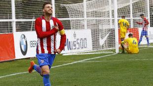 Sergi González celebra un gol con el filial frente al Alcorcón B.