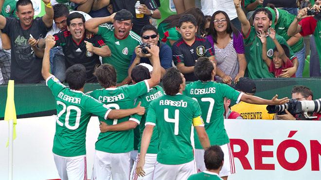 Festejo del Tri en el Mundial del 2011.