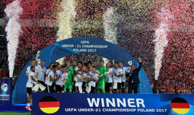 Festejos de Alemania en el título ante España.
