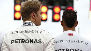 Rosberg y Hamilton, en el Gran Premio de Alemania 2016