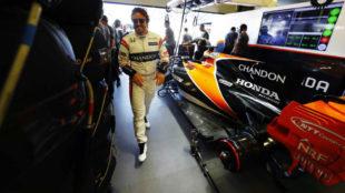 Fernando Alonso, en el circuito de Bak�