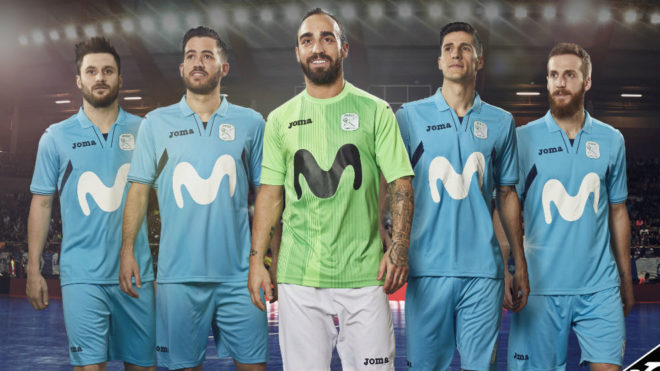 Los jugadores del Movistar Inter, con las nuevas equipaciones.