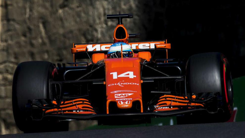 Fernando Alonso, en el Gran Premio de Bak�