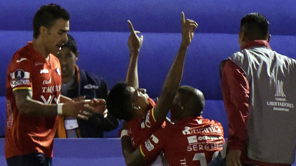 Álvarez celebra el gol contra Atlético Mineiro. AFP