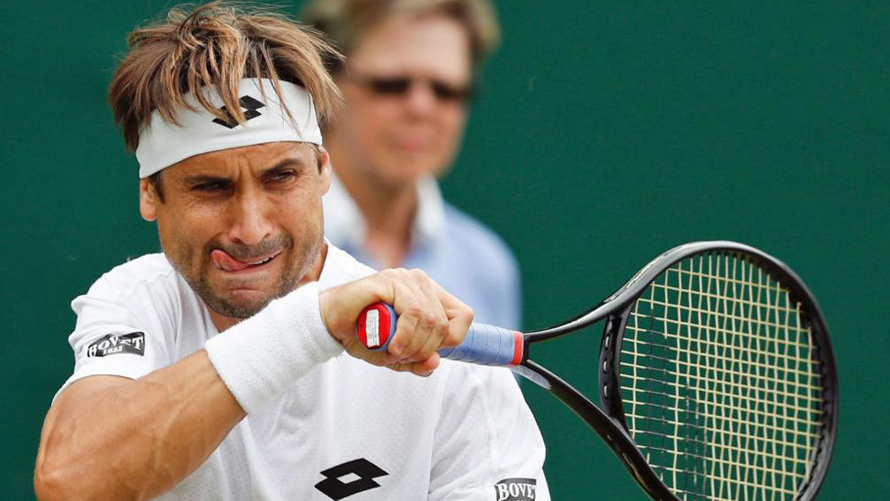 Ferrer, durante un partido en Wimbledon