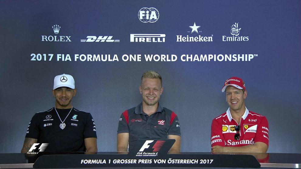 Hamilton, Magnussen y Vettel en la rueda de prensa previa al GP de...