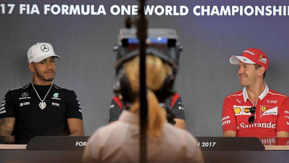 Hamilton y Vettel, en la rueda de prensa previa al GP de Austria