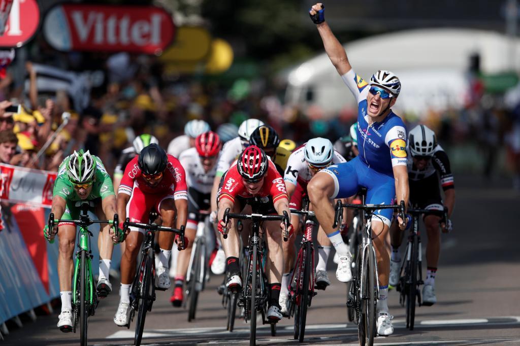 Marcel Kittel celebrando su segundo triunfo de etapa en este Tour.