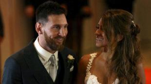 Messi y Antonella, en su boda