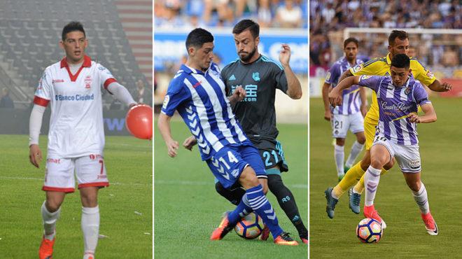 Cristian Espinoza en sus etapas en Huracán, Alavés y Valladolid.