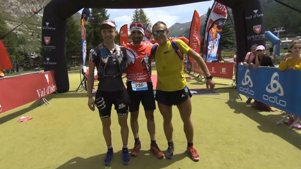 El podio masculino: Dunand-Pallaz, Hernando y Mityaev.