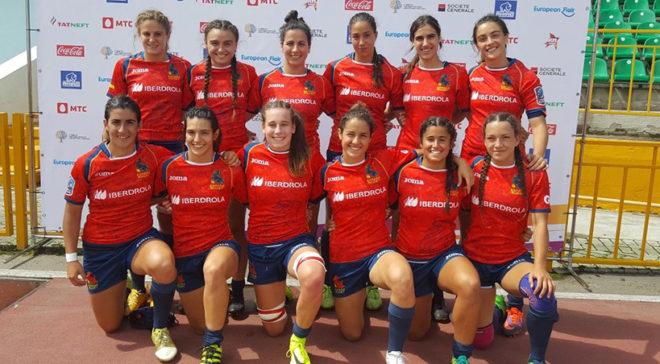 La selección española de rugby siete posando en Kazán.