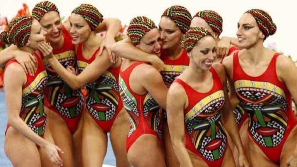 Equipo español de natación sincronizada.