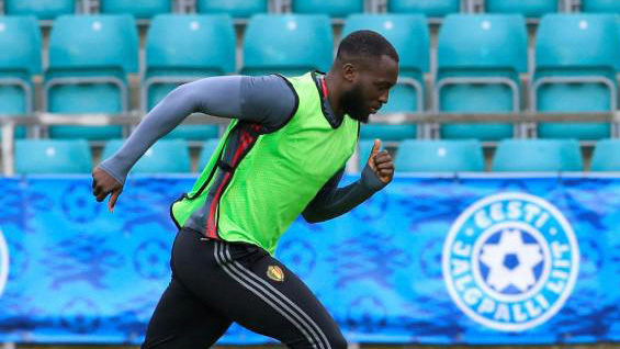 Romelu Lukaku, en un entrenamiento con la selección de Bélgica.