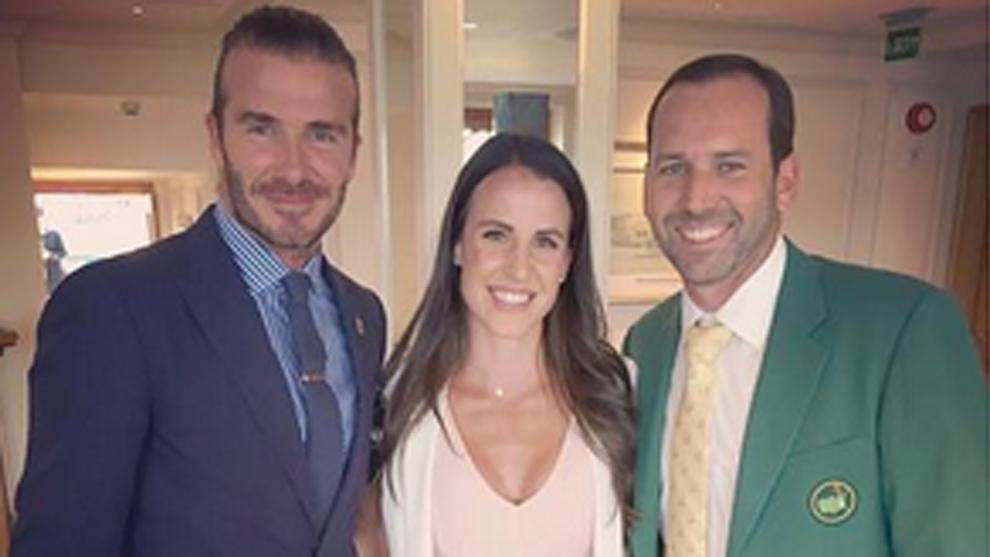 Sergio García y su prometida Angela Akins compartieron protagonismo...