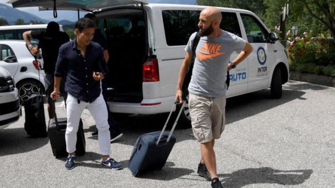 Borja Valero, a su llegada a la concentración del Inter