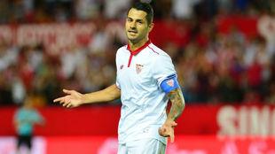 Vitolo, en un partido del Sevilla durante la pasada campa�a.