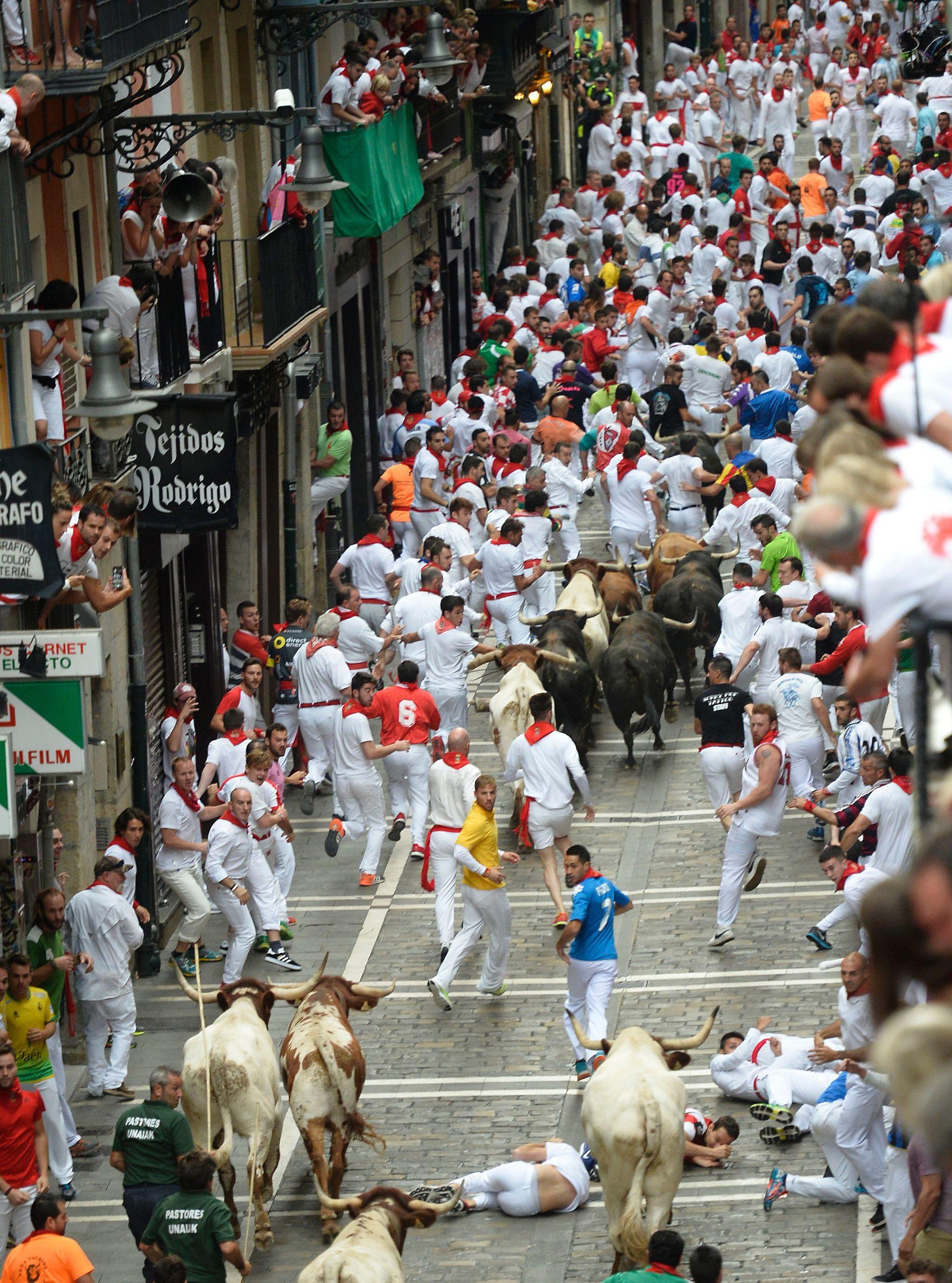 Espectacular imagen del séptimo encierro de San Fermín 2017