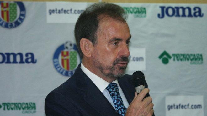 Ángel Torres, presidente del Getafe, en la pesentación de la nueva...