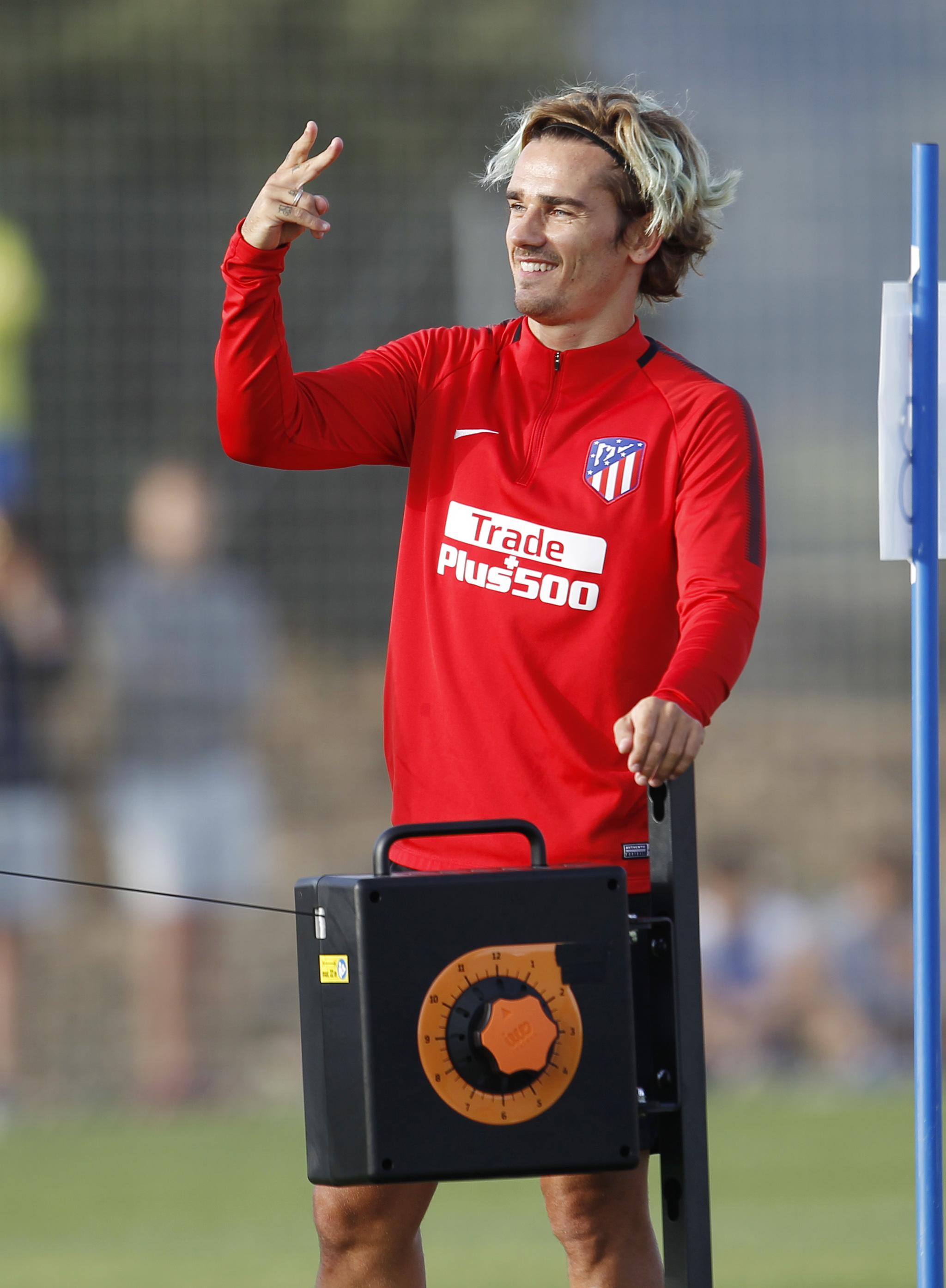 Antoine Griezmann luciendo nuevo peinado en la pretemporada del...