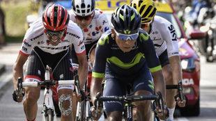 Nairo Quintana, junto a Contador, Landa y Barguil.