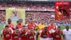 Jugadores de Independiente Santa Fe, campeones de la Superliga 2017