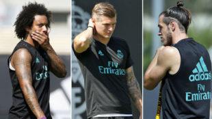 Marcelo, Kroos y Bale, durante el entrenamiento