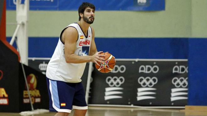 Dani Díez durante uno de los entrenamientos de España antes de los...