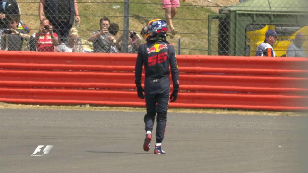 Carlos Sainz tras abandonar el Gran Premio de Silverstone