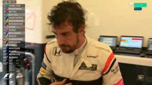 Fernando Alonso, tras abandonar en Silversone