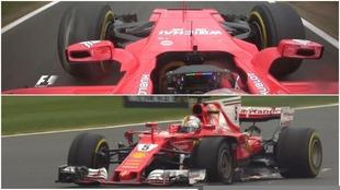 Los dos Ferrari, con el neumático izquierdo delantero pinchado