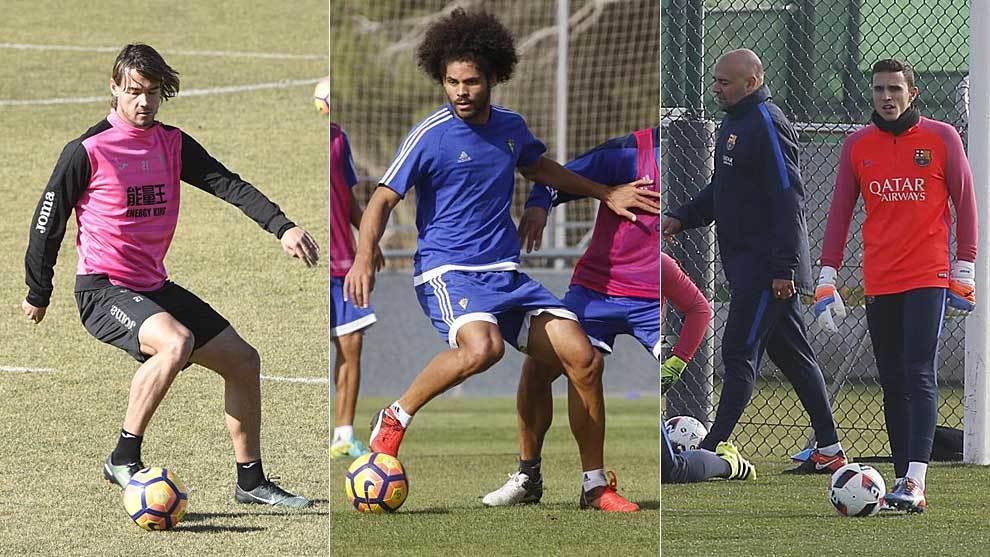 Krhin, Aridane y Masip, entrenándose con Granada, Cádiz y FC...