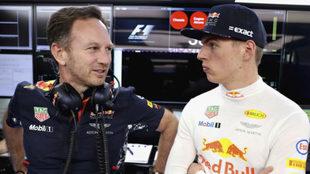 Horner y Verstappen, en el pasado GP de Rusia.