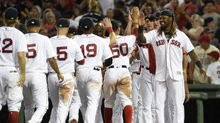 Así festejaron los Red Sox.